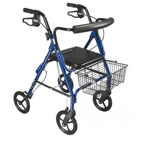 "D-Lite Lightweight Rollator Walker with 8"" Wheels and Loop Brakes by Drive"