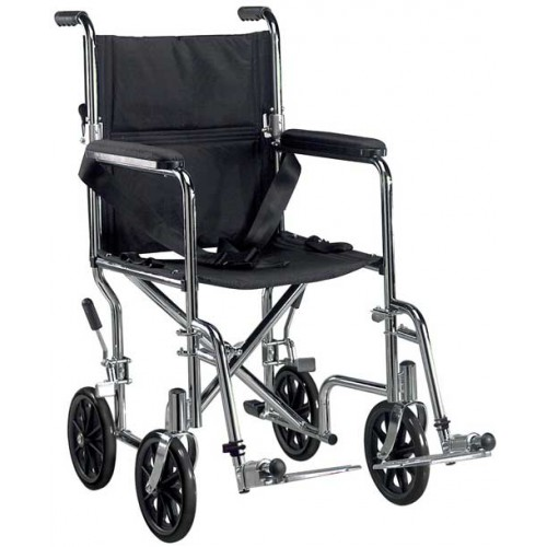 Go Cart Light Weight Transport Wheelchair with Detachable Desk Arms and Swing-away Footrest