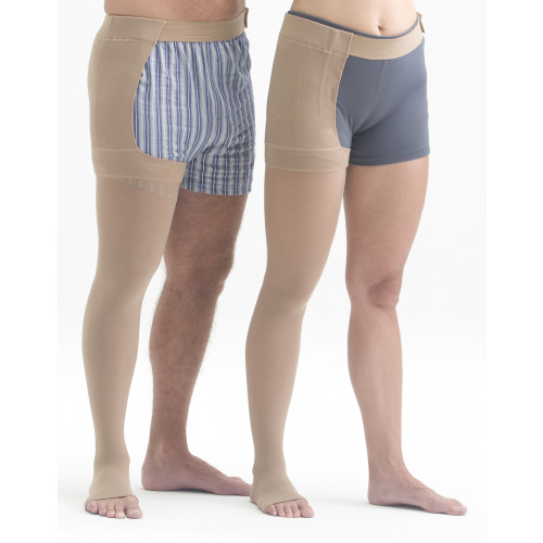 Mediven Plus Thigh High Compression Stockings OPEN TOE w/ Waist Attachment LEFT LEG PETITE 40-50 mmHg