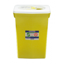 18 Gallon Yellow SharpSafety Chemotherapy Container with Slide Lid 8939