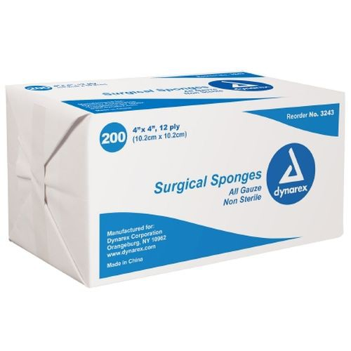 Dynarex 3243 Surgical Gauze Sponges 4 x 4 Inch, 12 Ply