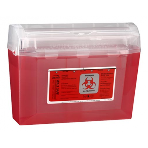 3 Quart Red Sharps Container with Rotating Cylinder Opening 125-030