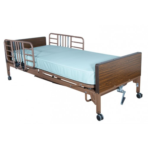 Bed Rail Half Length Tool Free Adjustable Width with Brown Vein Finish by Drive