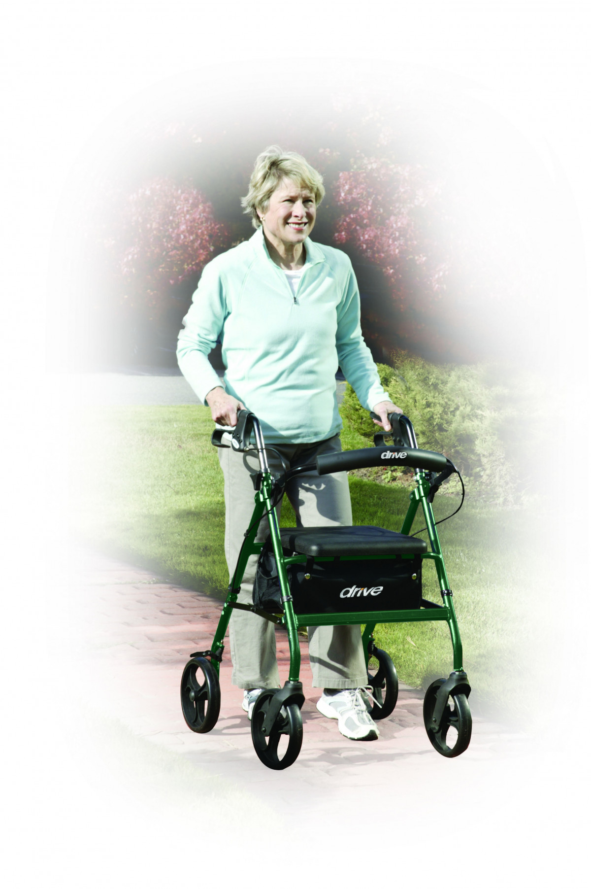 lightweight rollator with fold up and removable back support by drive 53f