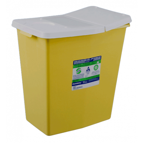 18 Gallon Yellow SharpSafety Chemotherapy Container with Hinged Lid 8989