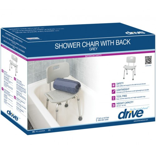 KD Aluminum Bath Bench with Back
