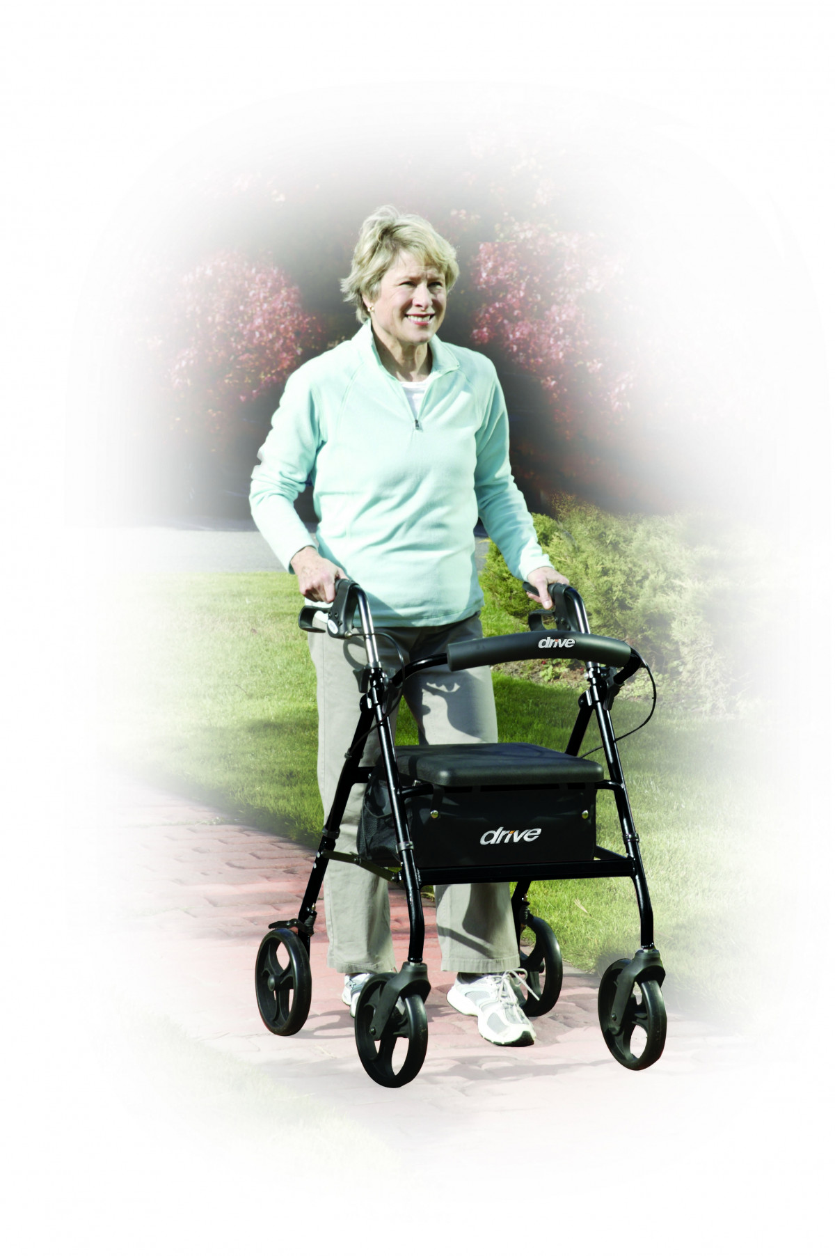 lightweight rollator with fold up and removable back support by drive d04