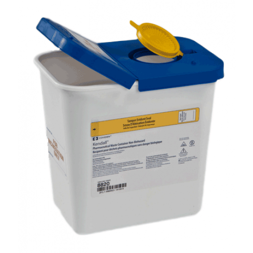 2 Gallon White SharpSafety Medical Waste Container with Gasketed Hinged Lid 8820