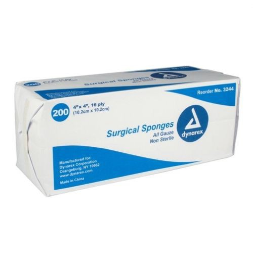 Dynarex 3244 Surgical Gauze Sponges 4 x 4 Inch, 16 Ply