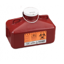 4.7 Quart Red Sharps Container with Rectangular Locking Cap 184R