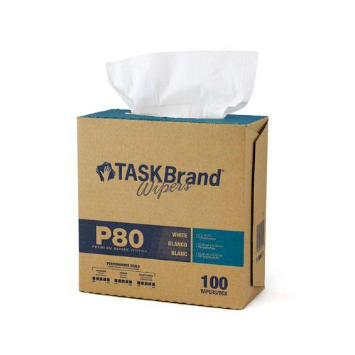 Taskbrand P60 Md Hydrospun, Jumbo Roll, Polywrapped, White Wipers