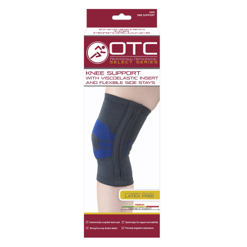 Knee Support with Compression Gel Insert and Flexible Side Stays