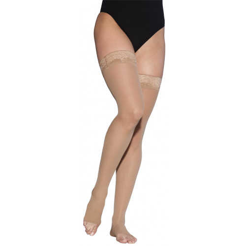 Sigvaris 780 Eversheer Women's Thigh High Compression Stockings w/ Silicone Top Band - 783N OPEN TOE 30-40 mmHg