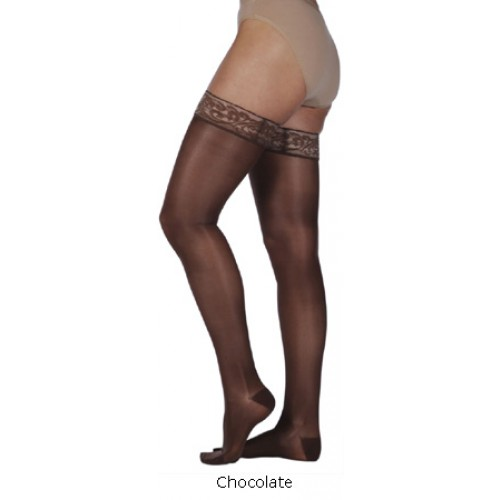 Juzo Naturally Sheer Thigh High Compression Stockings OPEN TOE 30-40 mmHg