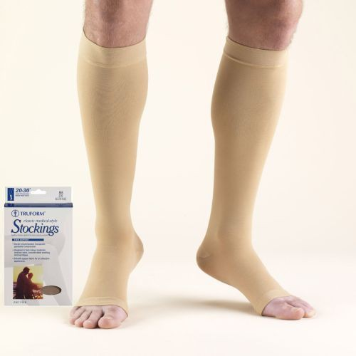 Knee High Compression Stocking Soft Top Open Toe 20-30 mmHg