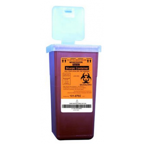 1 Quart Red Medi-Pak Sharps Disposal Container with Vertical Entry Lid 101-8702