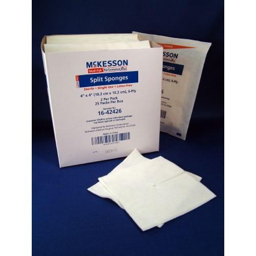 McKesson 16-42426 Split Sponges 4x4 Inch 6 Ply Sterile