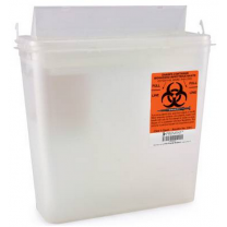 5 Quart Clear Prevent Sharps Disposal Container with Horizontal Entry Lid 2261