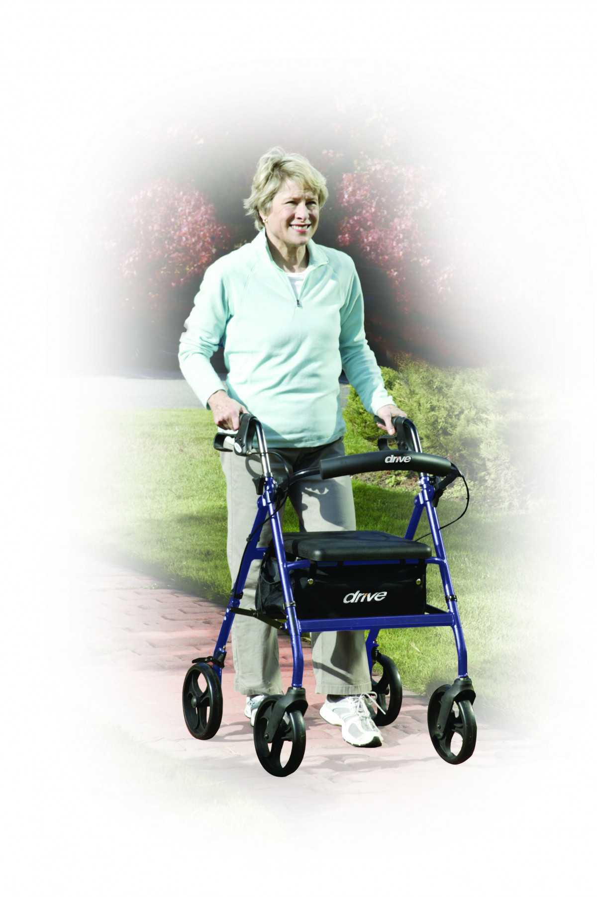 lightweight rollator with fold up and removable back support by drive de7