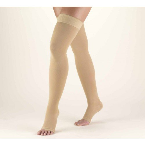 TRUFORM Classic Medical Thigh High Silicone Dot Top OPEN TOE 30-40 mmHg