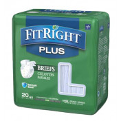 FitRight Plus Adult Briefs with Tabs, Moderate Absorbency, 4 packs of 20 (80 total)