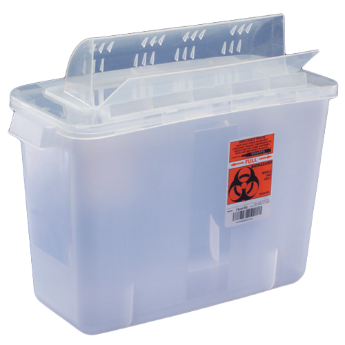 5 Quart Clear SharpSafety Sharps Container with Always Open Lid 851201