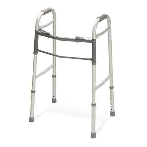 Two-Button Folding Walker without Wheels