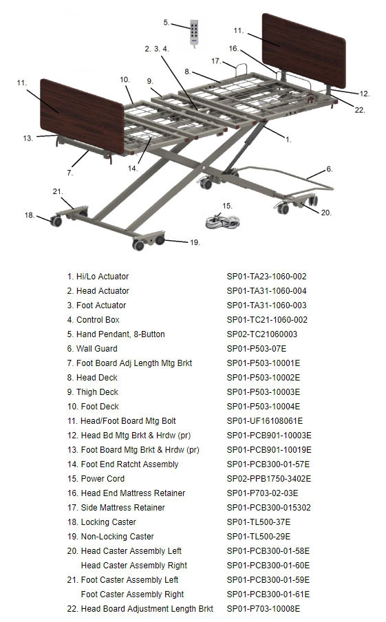 prime care p503 low hospital bed b19