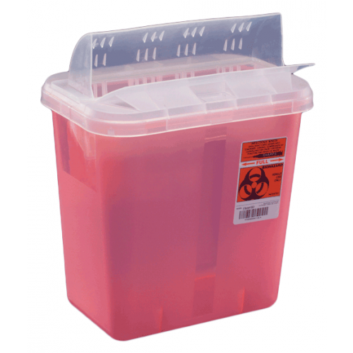 2 Gallon Red SharpSafety Sharps Container with Horizontal Drop Opening Lid 89671
