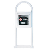 White AED Cabinet and Floor Stand with Alarm
