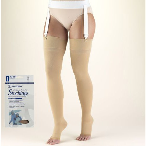 Thigh High Compression Stocking Soft Top Open Toe 20-30 mmHg
