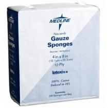 MedLine 4 x 8 inch Woven Gauze Sponges 12 Ply - NON25812