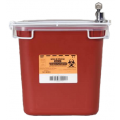 2 Gallon Red Medi-Pak Sharps Disposal Container with Horizontal Entry Lid 101-8704