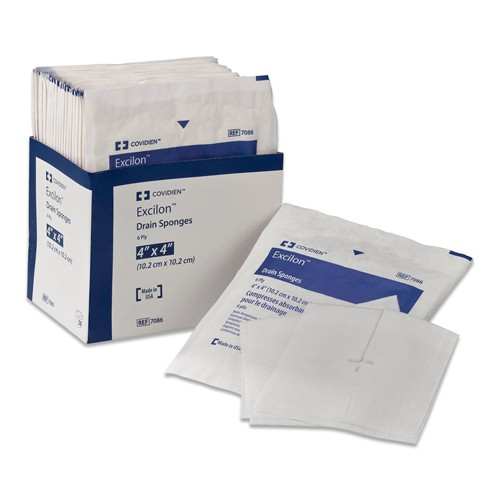 EXCILON 7084 AMD Antimicrobial Sponges Nonwoven 4x4 Inch 6 Ply Sterile