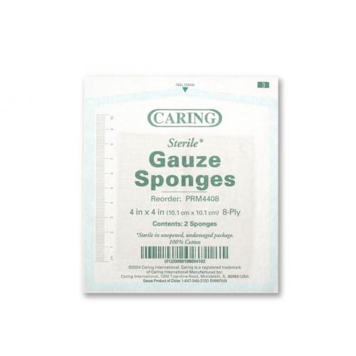 Caring 4 x 4 Inch Woven Gauze Sponges 8 Ply Sterile - PRM4408