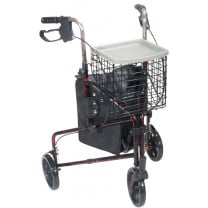 Drive Medical 3 Wheel Rollator Walker with Basket Tray and Pouch - 10289 in Red Flame or Blue Flame