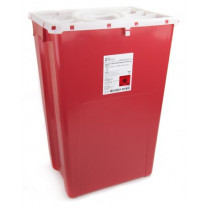 18 Gallon Red Prevent Sharps Disposal Container with Locking Red Port Lid 2268