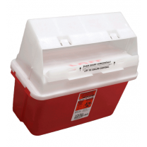 5 Quart Transparent Red GatorGuard Sharps Container with Counterbalanced Door 31353603