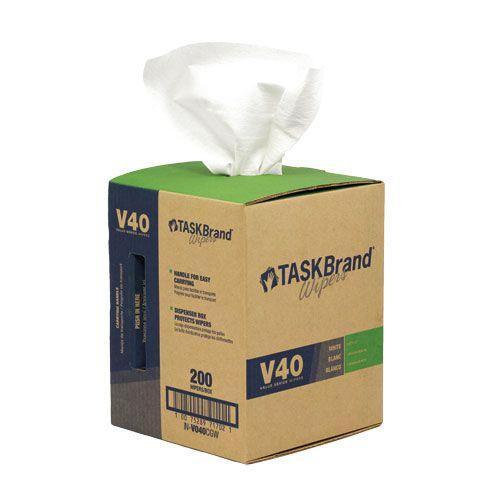 Taskbrand V40 Hw Drc, Centerpull Roll, Grabbox, White Wipers