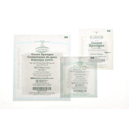Caring PRM4408 Gauze Sponges 4x4 Inch 8 Ply Sterile