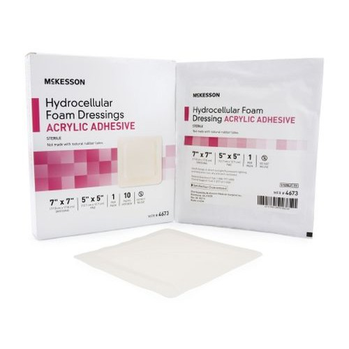 Adhesive Foam Dressing Acrylic Adhesive 7 x 7 Inch Sacral - Sterile