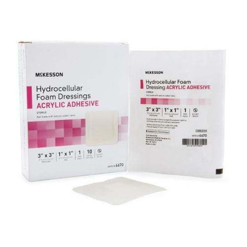Mckesson 4670 Hydrocellular Adhesive Foam Dressing Acrylic Adhesive 3 x 3 Inch - Sterile