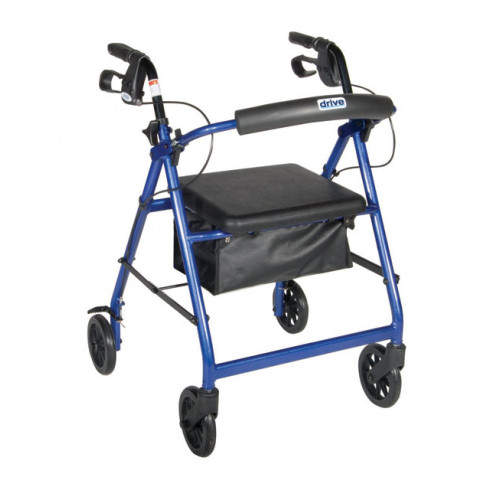 "Aluminum Rollator with Fold Up and Removable Back Support Padded Seat 7.5"" Casters with Loop Locks"