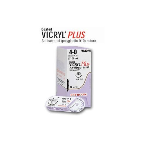 Suture with Needle Coated Vicryl Plus Absorbable Violet Braided Polyglactin