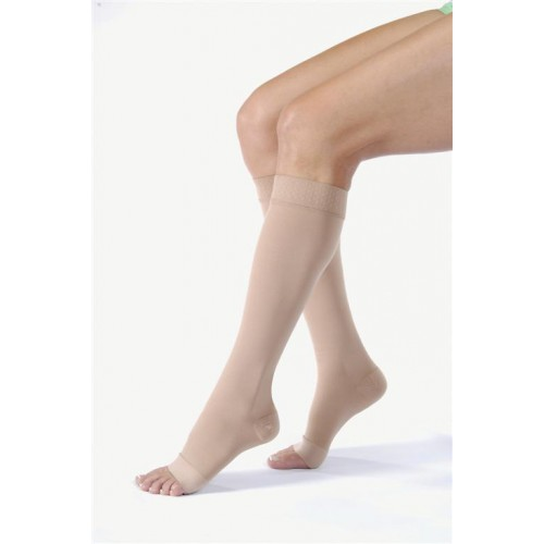 Jobst Relief Knee High Unisex Compression Socks w/ Silicone Top Band OPEN TOE 20-30 mmHg