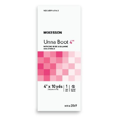 Cotton Unna Boot with Zinc Oxide and Calamine 4 Inch x 10 Yard - Non-Sterile