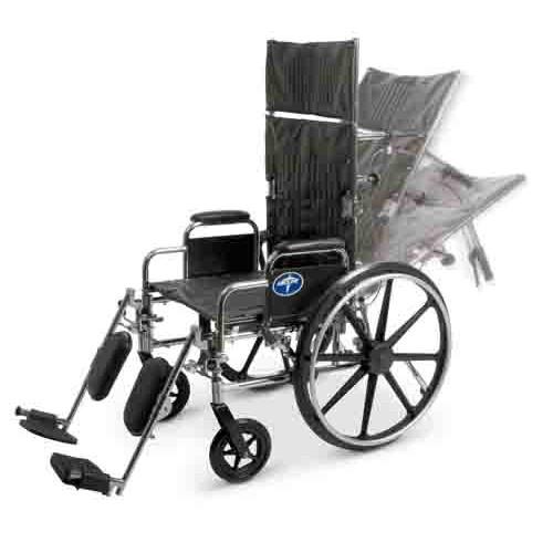 Medline Reclining Wheelchair, Desk Length Arms, Elevating Legrests, Chrome Frame