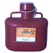 Medi-Pak 6.2 Quart 2-Piece Red Sharps Container with Vertical Entry Lid - 101-182