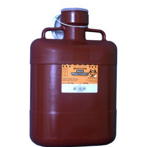 10 Quart Red Medi-Pak Sharps Disposal Container with Vertical Entry Lid 101-180