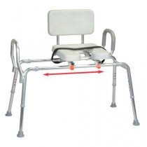Sliding Transfer Bench with Padded Cut-Out Seat and Handles - Regular
